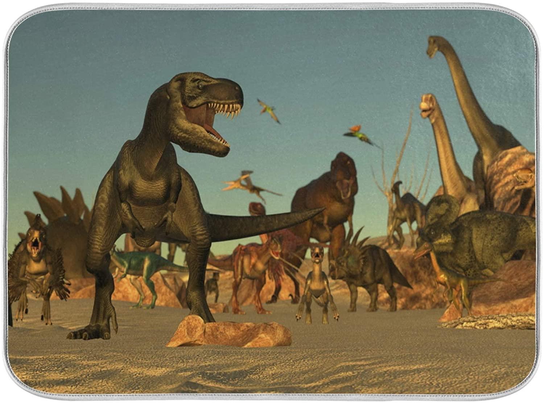 Oarenol Dinosaurs Pterosaurs Dish Drying Mat Absorbent Kitchen Countertop Mat 16 x 18 Inch