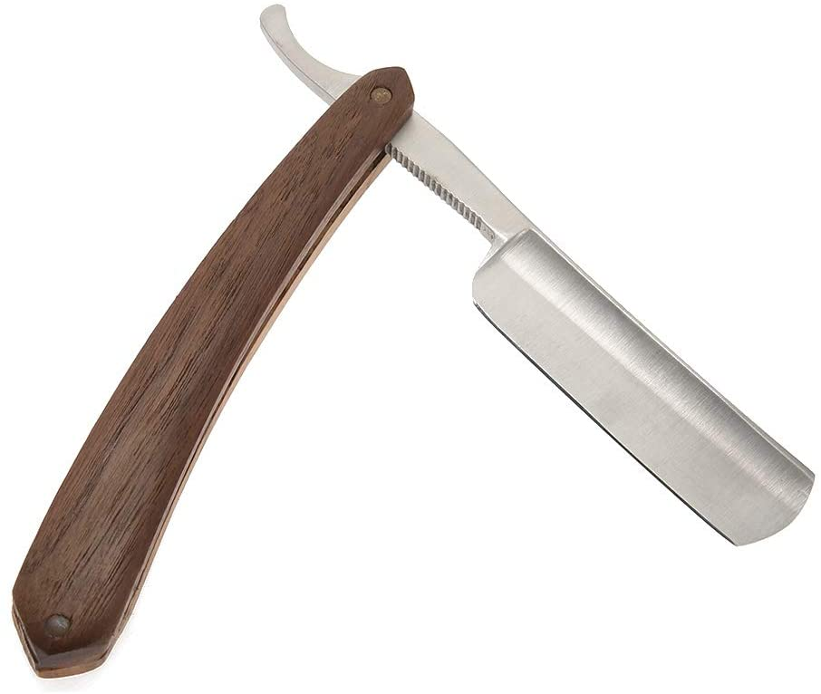 ZJchao Rosewood Classic Wood Grain Barber Shaver, Straight Edge Razor Foldable Design Fine Workmanship and Classic Style The Best Choice As a Gift