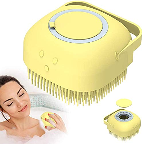 Soft Silicone Bath Brush Cleaning Comb Body Exfoliator Shower Shampoo Container,Food Grade Silicone Bath Brush for Baby,Men,Women (yellow)