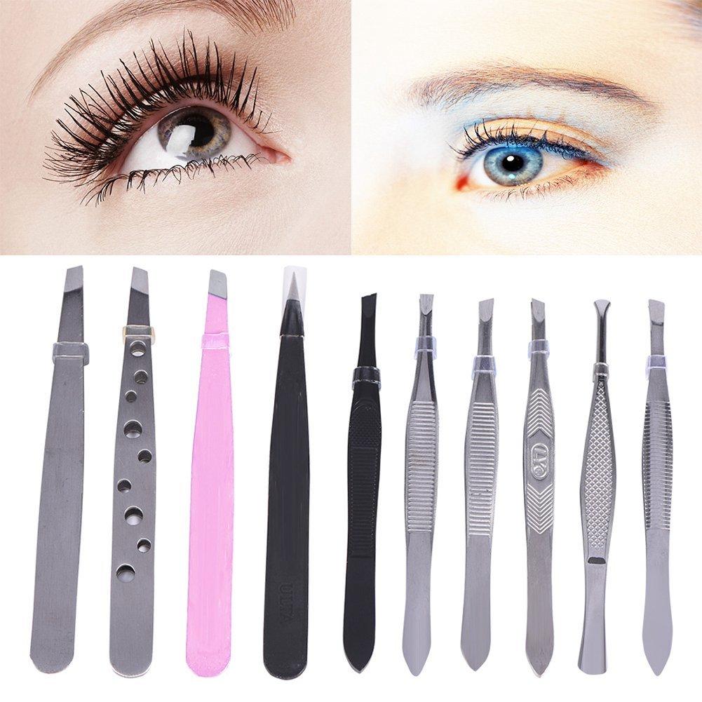Eurobuy Tweezers Set, 10Pcs Stainless Steel Eyebrow Tweezers Eyelash Hair Lash Extension Clip Makeup Beauty Tool for Men and Women