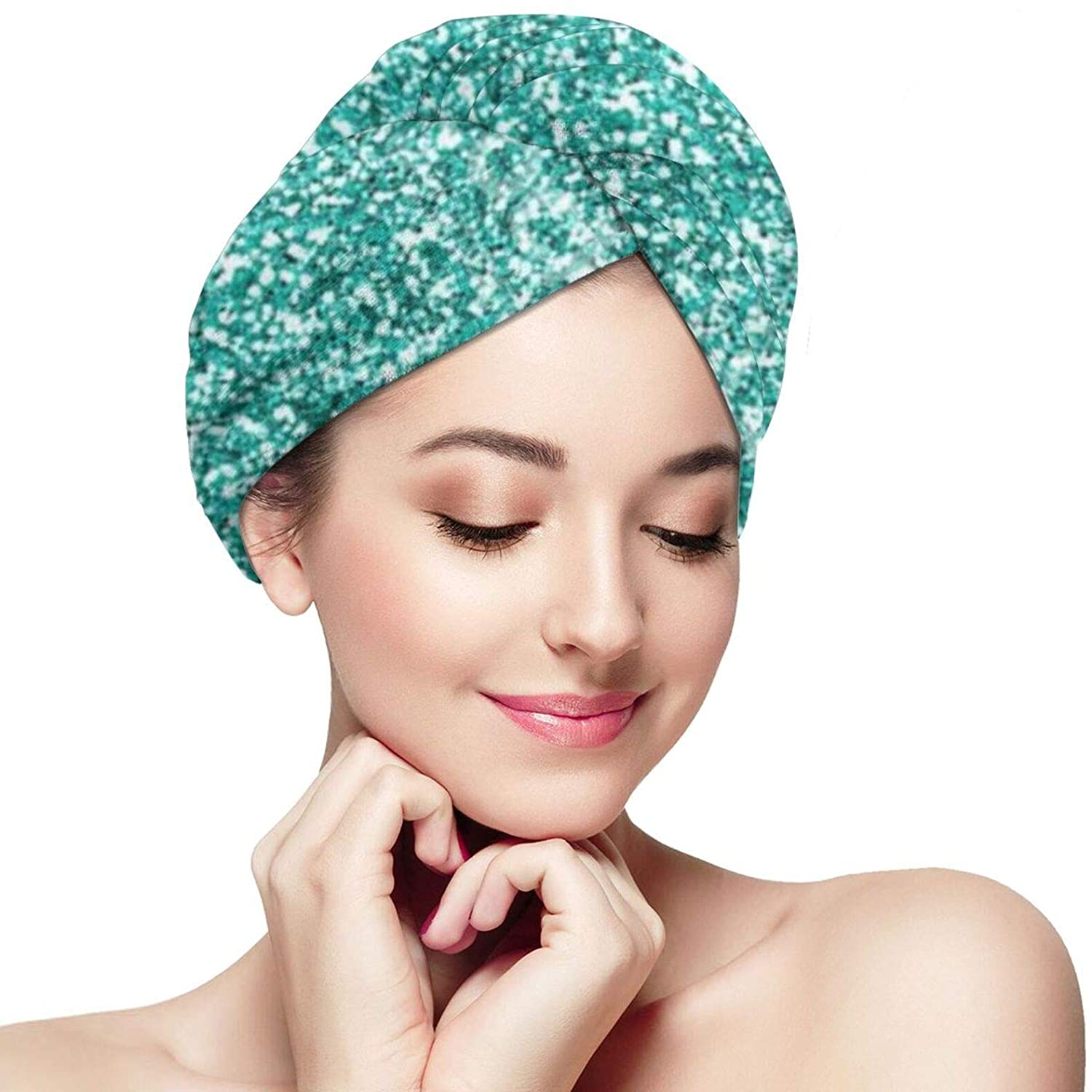 NiYoung Women Girls Dry Hair Hat Hair Towel Wrap Magic Instant Quick Dry Turban Twist with Button for Fine & Delicate Hair, Turquoise Glitter