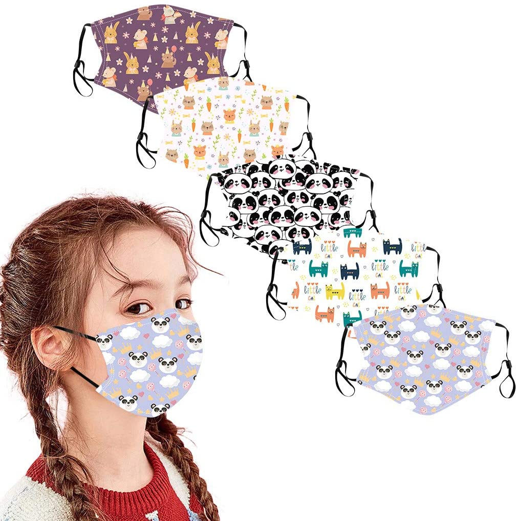 QWEDF 5PCs Kids Children Mouth Masks Outdoor Cotton Protection Face Masks Reusable Breathable Filters Dust Proof, Wind Proof