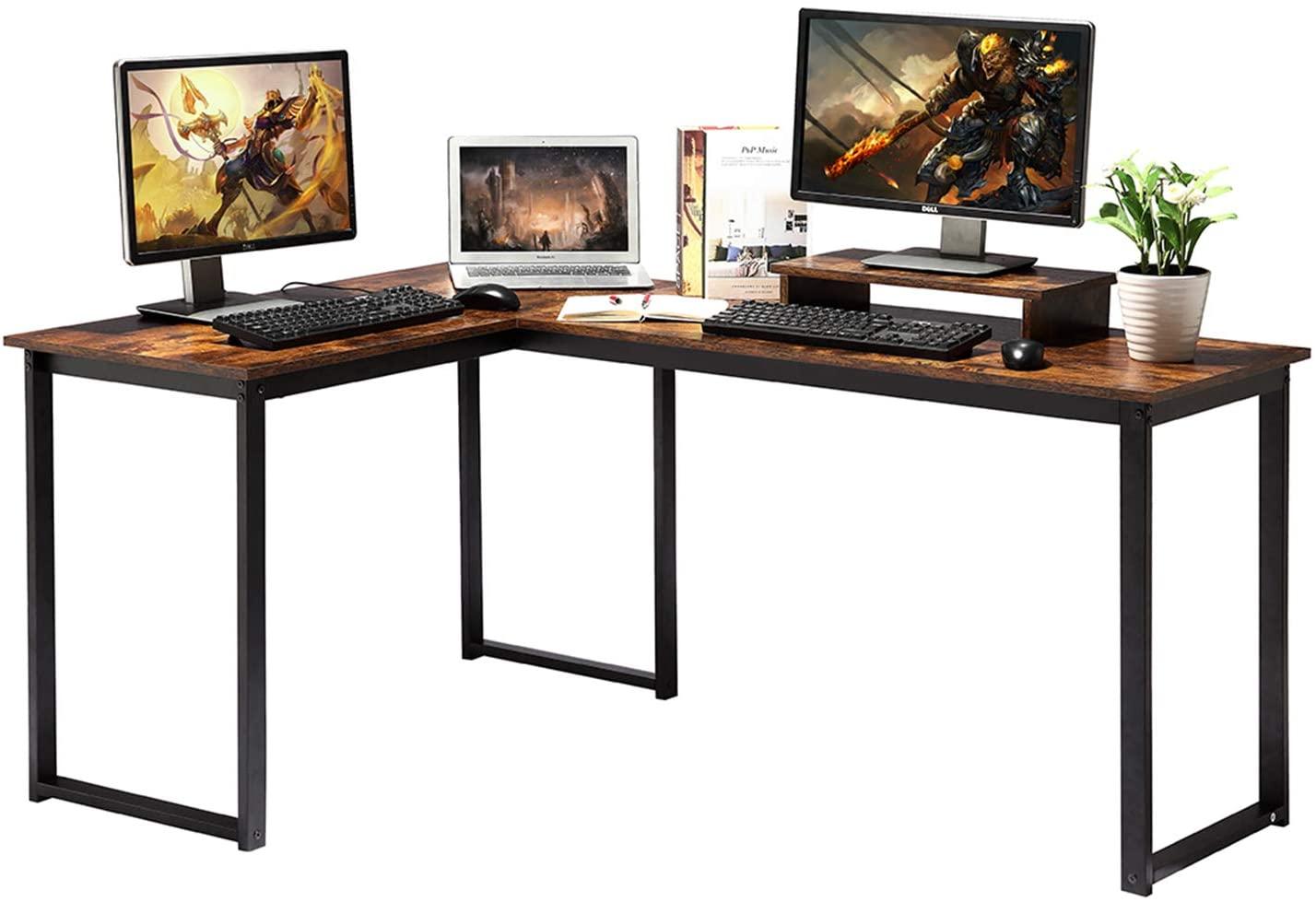 ZCH Computer Desk, Rustic Brown