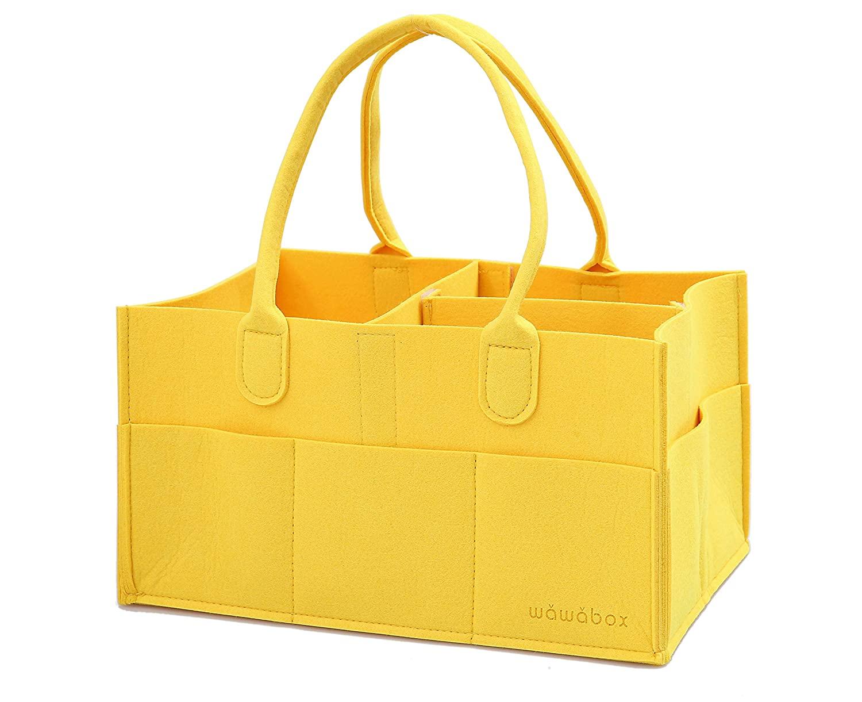 Diaper Caddy Organizer, Baby Gifts Diaper Bag, Storage Caddy for Newborn Kids, Felt Diaper Caddy Tote(Yellow)