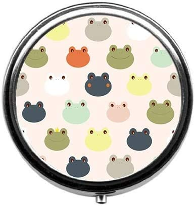 ~ TaiGe Cute Colorful Frog Pill Box/Pill case-Round Pill Box/case- Three-Compartment Pill Box/Pill case