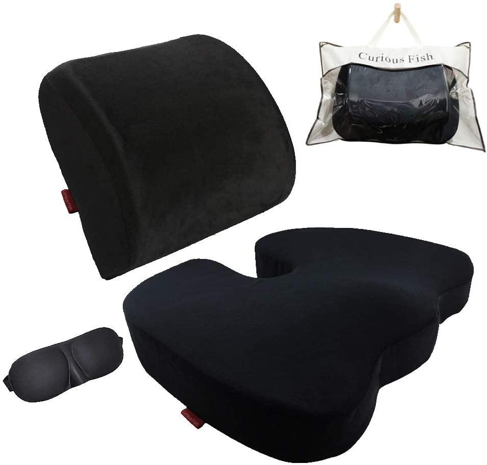 Curious Fish Memory Foam Seat Cushion Back Lumbar Support (Seat Cushion+Lumbar Support+Eye mask, Black)