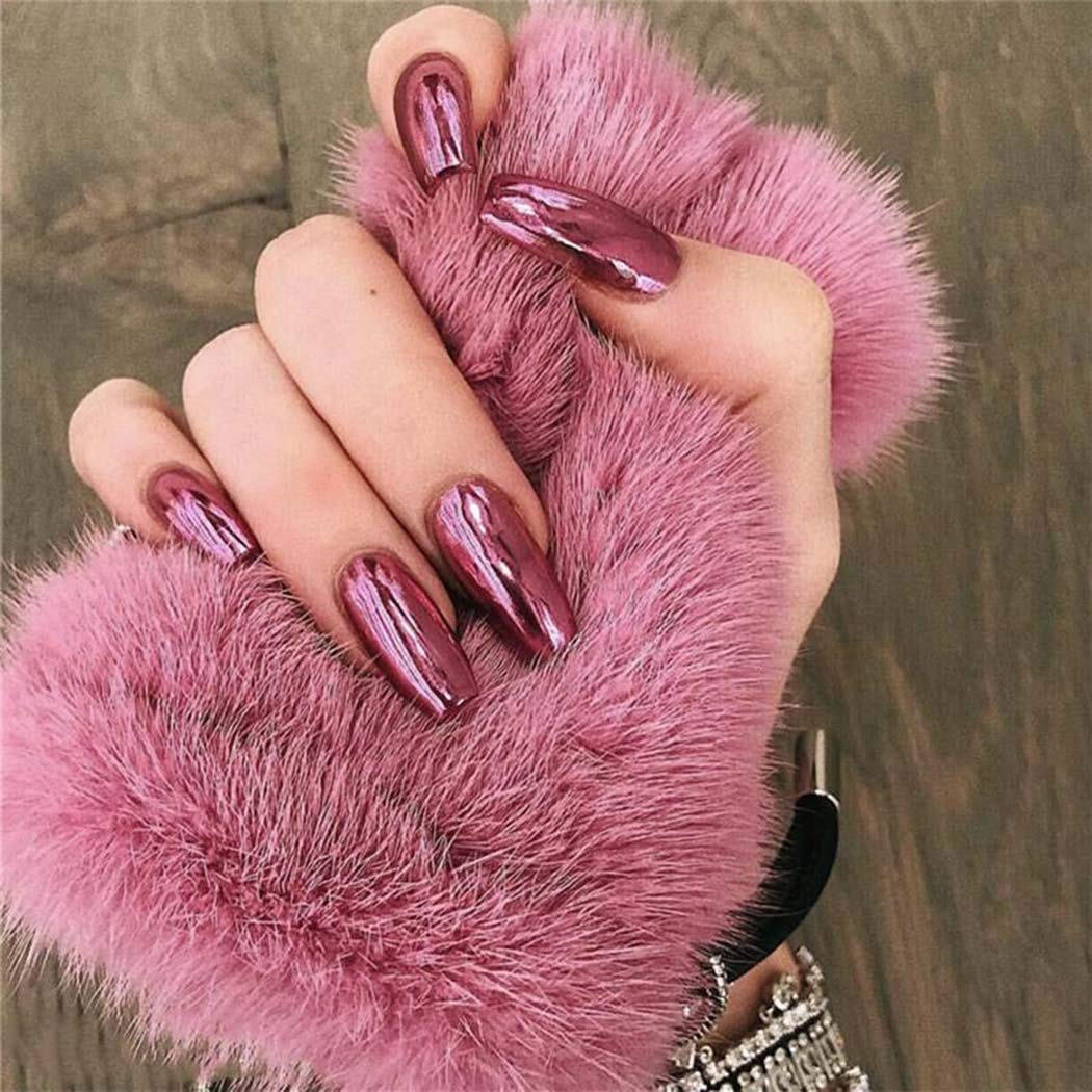 Bmirth Press on Nails Long Coffin Fake Nails Holographic False Nails Glossy Full Cover Nails for Women and Teen Girls 24Pcs