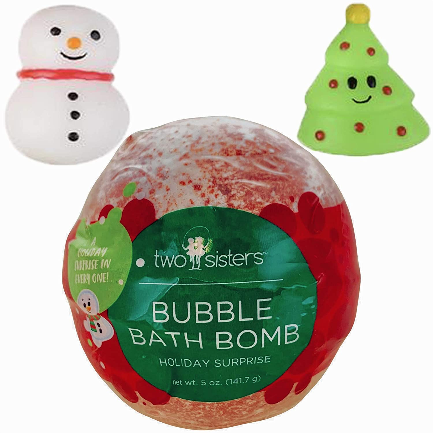 Christmas Bubble Bath Bomb for Kids with Surprise Holiday Squishy Toy Inside by Two Sisters. Large 99% Natural Wrapped Fizzy. Moisturizes Dry Sensitive Skin. Releases Color, Scent, and Bubbles.