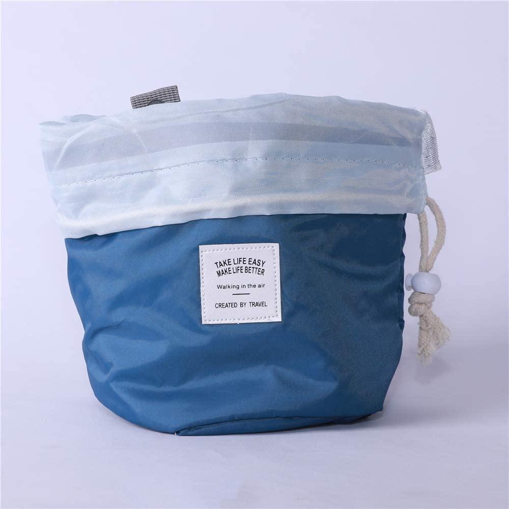 Cosmetic Storage BagBarrel Makeup Bag Travel Drawstring Cosmetic BagLarge Toiletry Organizer Waterproof for Women and Girls Pink 1PCS Blue