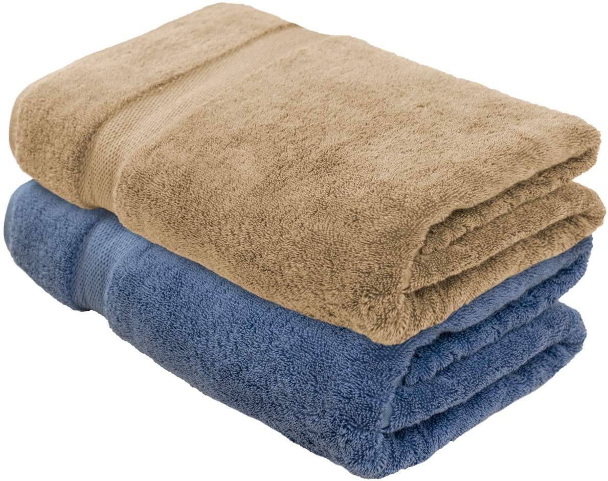 Cotton & Calm Exquisitely Plush and Soft Extra Large Bath Towels (Set of 2,1 Blue & 1 Beige, 35