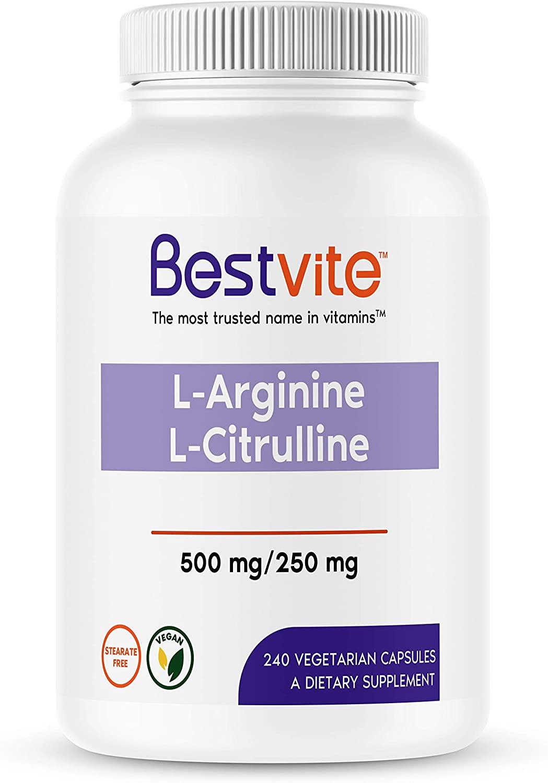 L-Arginine L-Citrulline 500mg / 250mg (240 Vegetarian Capsules) - No Stearates - No Dicalcium Phosphate - Vegan - Non GMO - Gluten Free