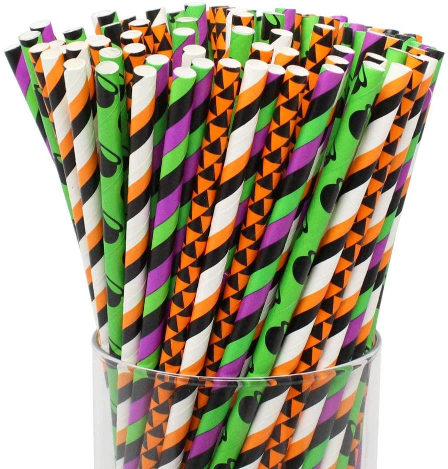 Just Artifacts Premium Biodegradable 100pcs Halloween Decorative Paper Straws (Color: Halloween)