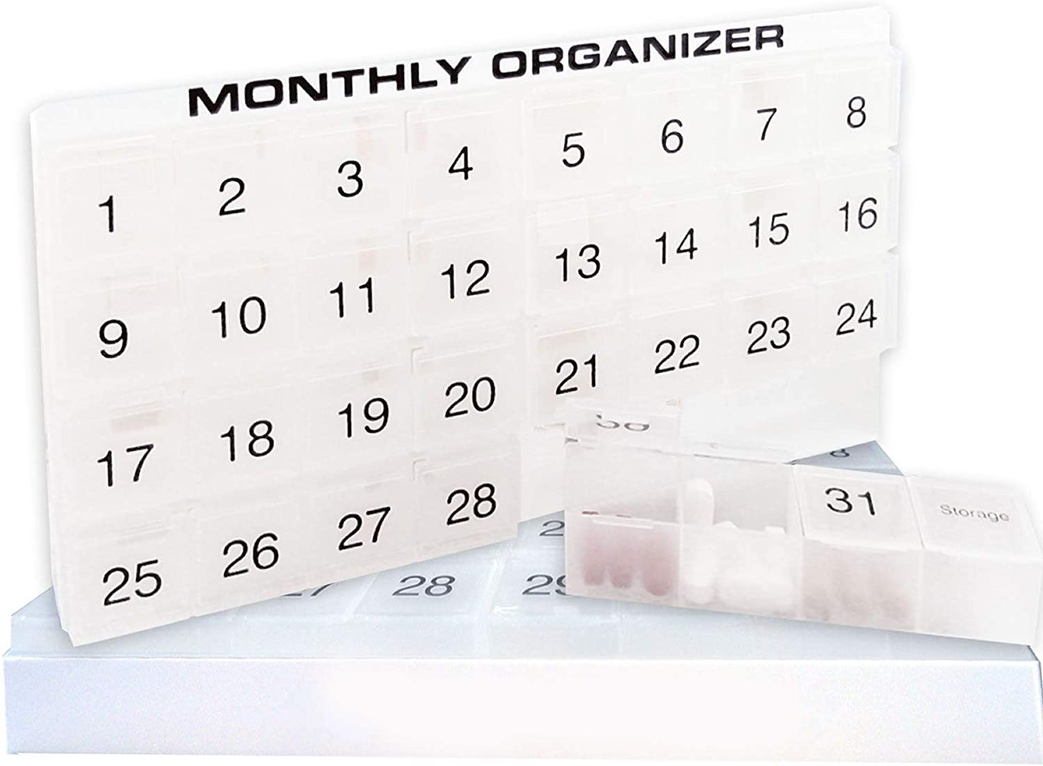 31 compartments, 1 per Day, 4 Week Monthly Pill Organizer by Promed. Includes Tray and 8 Removable compartments. (White)