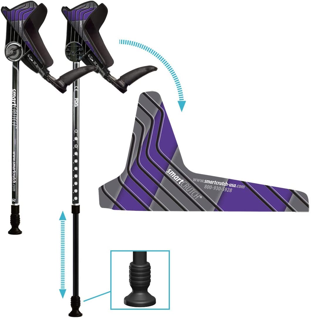 smartCRUTCH Racer Series Forearm Crutch 15-90 Degree Rotation - 2 Ergonomic Walking Aids, Adjustable 4'4-6'7 Adult Athlete Elderly Injury/Disability, Mobility Support - Small, Purple