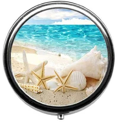 ~ Pill Box/Pill Case-Round Pill Box/Case- Three-Compartment Pill Box/Pill Case-Beautiful Beach Seascape Pattern