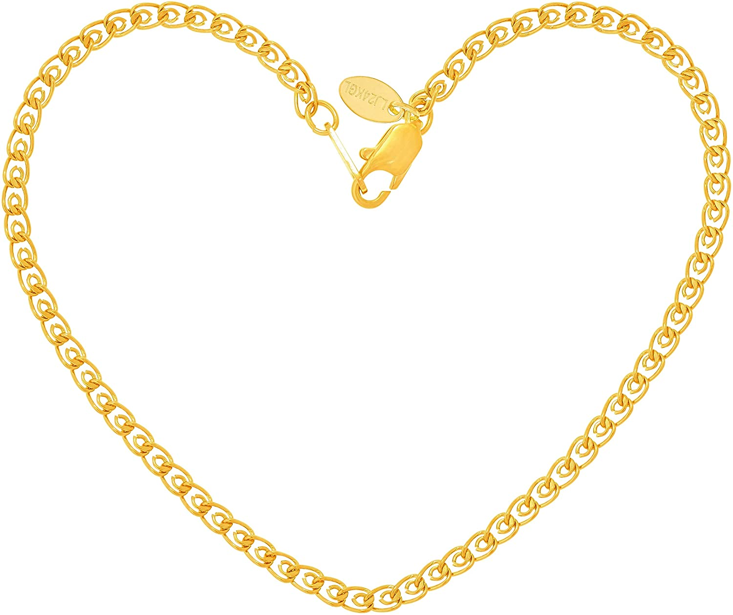 Lifetime Jewelry 2.7mm Open Weave Link Anklet for Women & Girls 24k Real Gold Plated