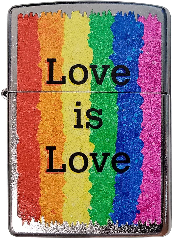 Zippo Custom Lighter - Rainbow Pride Love is Love - Regular Street Chrome - Gifts for Him, for Her, for Husband, for Wife, for Them, for Men, for Women,