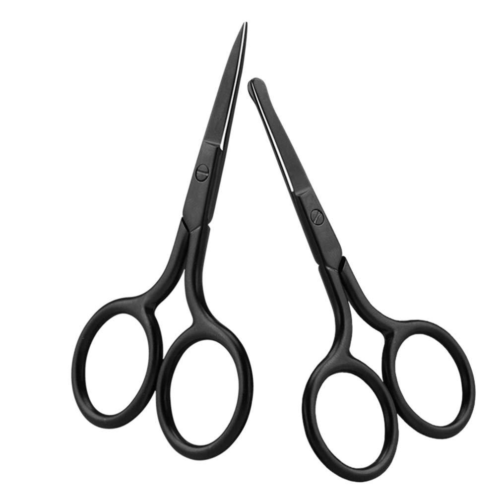 Milisten 2pcs Facial Hair Scissors Stainless Steel Mustache Nose Hair Beard Eyebrow Trimming Scissor For Men Women (Black)