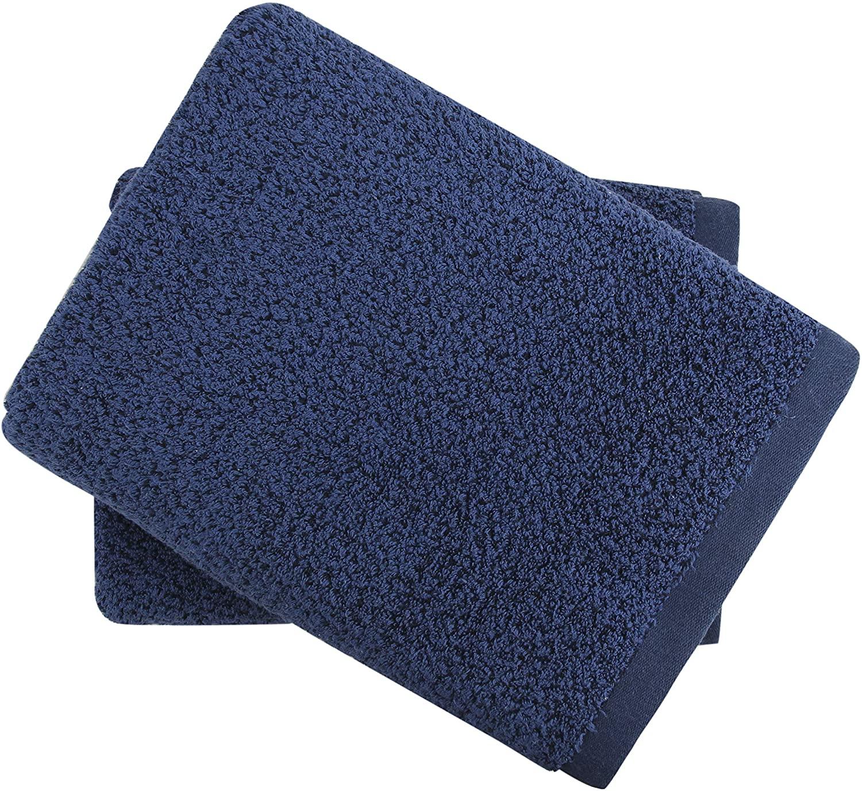 Everplush Diamond Jacquard Bath Sheet 2 Pack in Navy