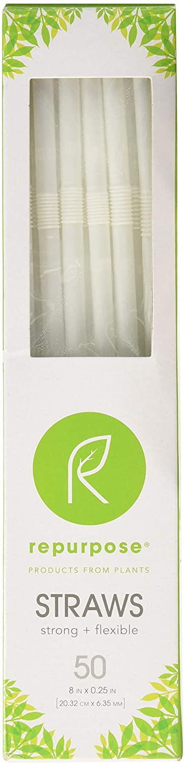 REPURPOSE, Compostable Straws, Pack of 20, Size 50 CT - No Artificial Ingredients