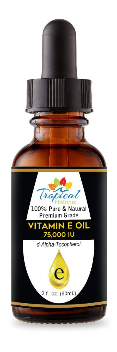 100% Pure Premium Vitamin E Oil 2 oz - Maximum Strength 75,000 IU-Blocks Free Radicals, Slows Aging, Reduces Wrinkles, Skin,Nails, Hair, Scars, Sunburn - Travel Size