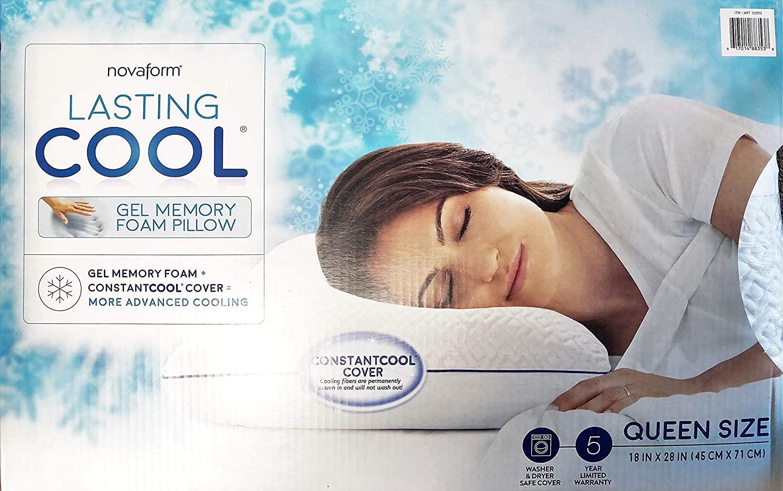 NOVAFORM Lasting Cool Gel Memory Foam Pillow Queen Size CONSTANTCOOL Cover