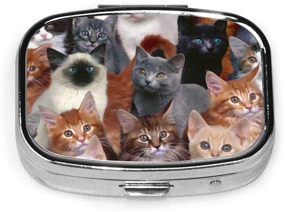 ~ A Lot Cats Fashionable Square Medicine Box Metal Iron Plating Portable Pill Box