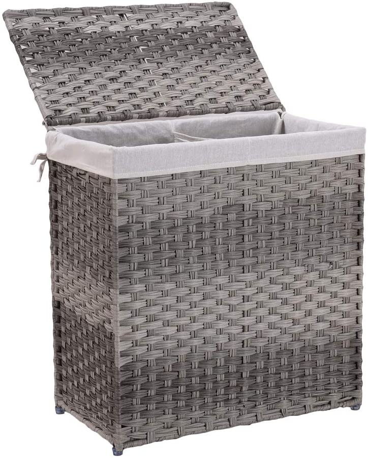 Mxfurhawa Divided Laundry Basket Foldable Rattan Laundry Hamper, with Removable Washable Liner Bag, lid and Handles, Portable Rectangular Laundry Double Hamper for Bathroom Bedroom Balcony (Grey)