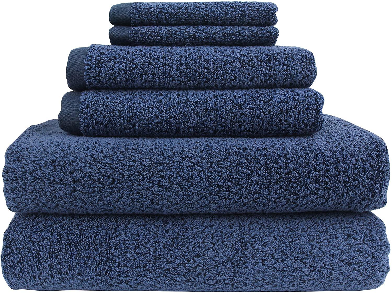 Everplush Diamond Jacquard 6pc Towel Set, 6 Piece, Navy Blue
