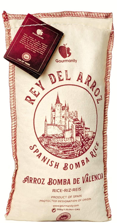 Gourmanity Rey del Arroz AuthenticDelicious Spanish Bomba Rice| 17.6 oz/500g Burlap Sack Delicious Spanish Rice/Pilaf for Paella, Arroz A banda, Arroz Negre, Saffron Rice & More|Gluten-Soy-Dairy-Free