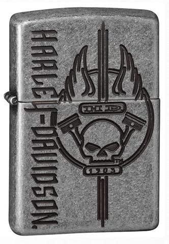 Personalized Zippo Lighter 29280 Harley Davidson Antique Silver Plate Finish Pocket Lighter