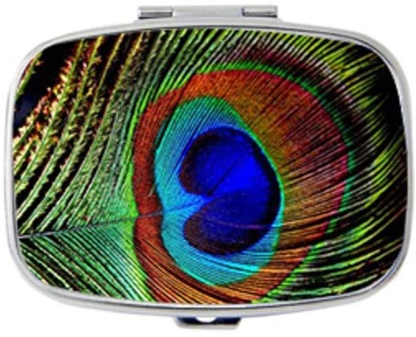 ~ Peacock Feather Pill Case Holder Decorative Box Pocket Purse Travel Pill Vitamin Tablet Medicine Case