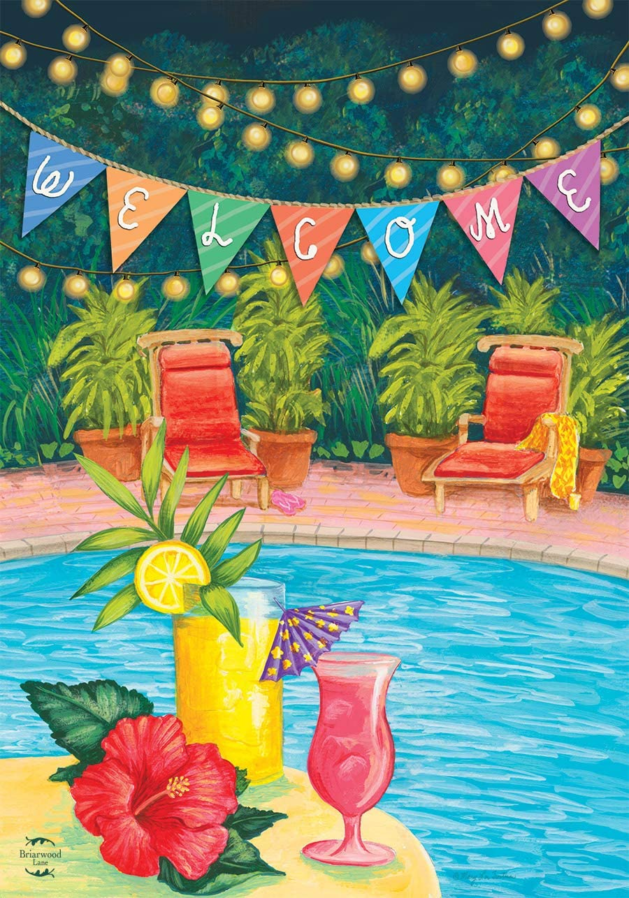 Briarwood Lane Poolside Paradise Summer House Flag Welcome Tropical 28