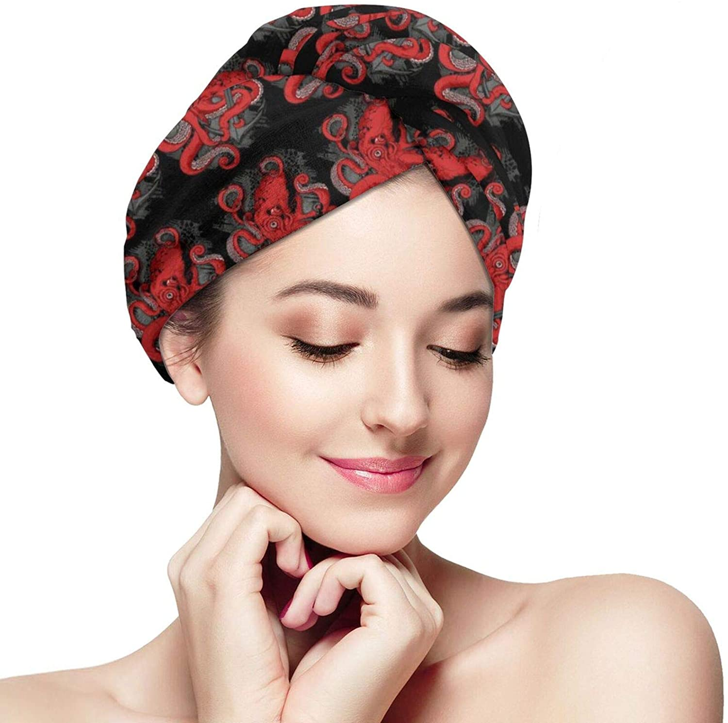 SWEET TANG Women Girls Red Octopus Nautical Anchor Artwork Black Hair Towel Anti Frizz Super Absorbent Soft Salon Dry Hair Hat Quick Dry Bath Shower Turban Twist for Curly Long Thick Hair
