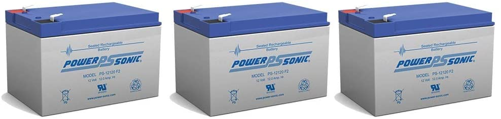 Power Sonic 12V 12Ah F2 Citybug Helper Currie Electro-Drive Electric Scooter Battery - 3 Pack