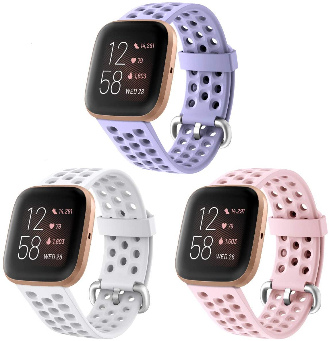 NANW 3-Pack Sport Bands Compatible with Fitbit Versa 2/Versa Lite/Versa for Women Men, Soft Waterproof Silicone Strap Replacement Wristband with Air Holes for Versa 2 Smartwatch