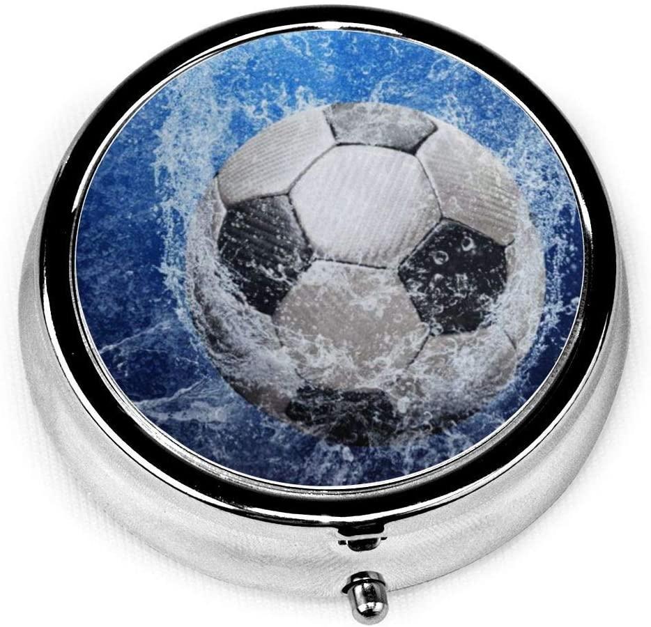 ~ Sport Soccer Ball Pill Box Round Metal Pill Case Three Compartment Pocket Medicine Storage for Purse