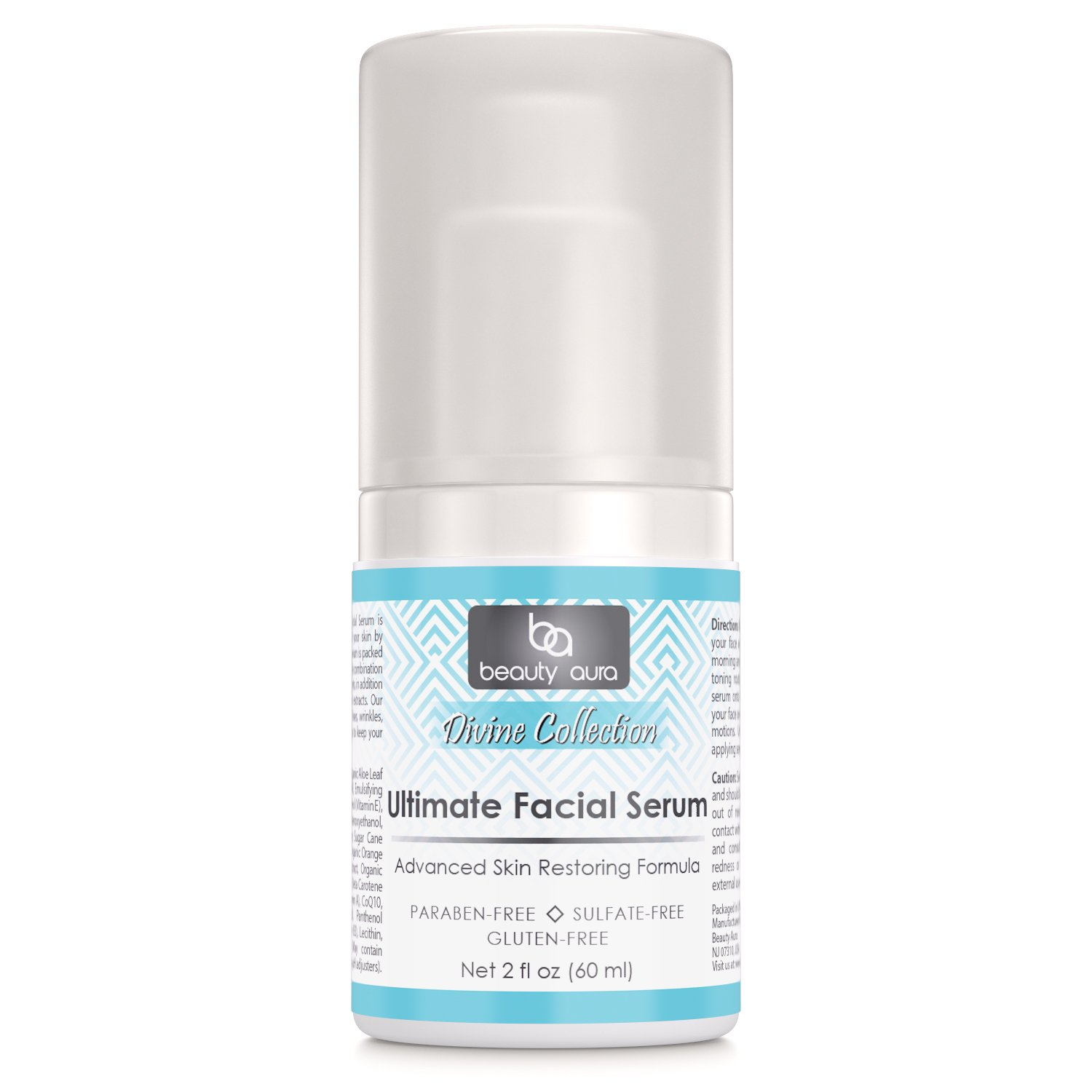 Beauty Aura Divine Collection Ultimate Facial Serum 2 Fl (60 ml) - Contains DMAE, VITAMIN C, COENZYME Q10 & ALPHA LIPOIC ACID