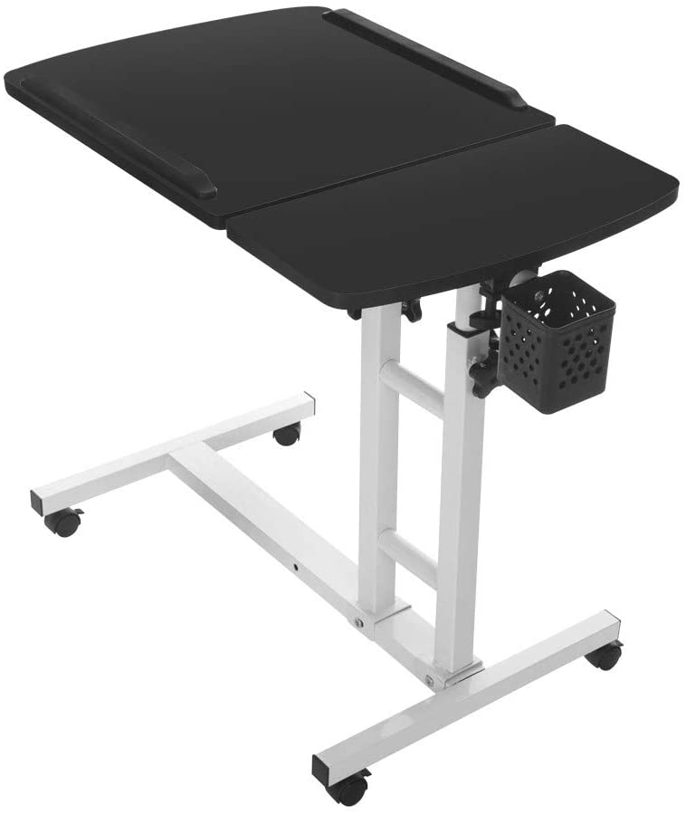 VOYOAO Computer Laptop Desk Cart Folding Adjustable Lifting Side Table (Black)