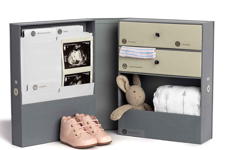 The Vault Baby Keepsake Box - Handmade Customizable Newborn Memory Box with 2 Drawers, 7 compartments and 10 folders for Baby's Treasured Memories - Slate Gray