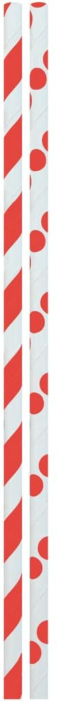JAM PAPER Color Paper Straws - 7 3/4 x 1/4 - Red Stripes & Dots - 24/Pack