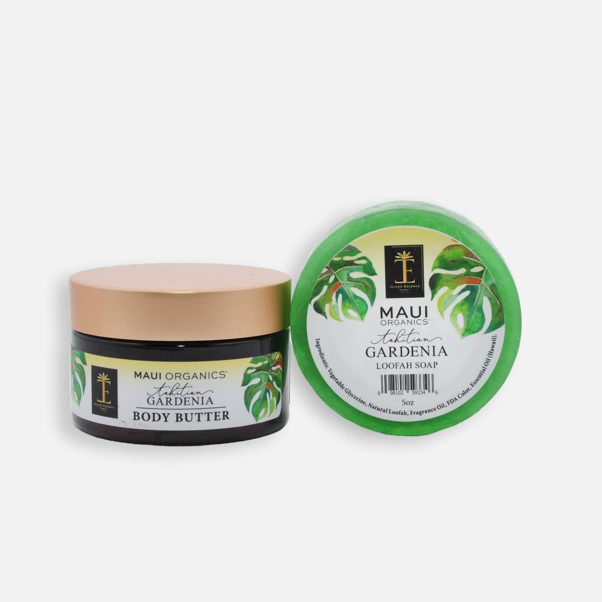 Island Essence - Tahitian Gardenia Loofah Soap & Body Butter Gift Collection - Natural Vegan Body Care From Hawaii
