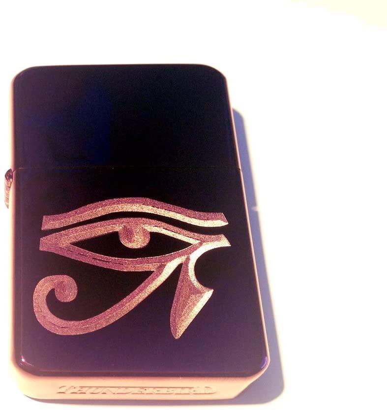 Vector KGM Thunderbird Custom Lighter - EYE of Ra Egyptian Hyroglifics Logo Purple Sparkle ICE High Polish Chrome Rare!