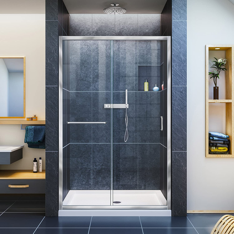 DreamLine Infinity-Z 44-48 in. W x 72 in. H Semi-Frameless Sliding Shower Door, Clear Glass in Chrome, SHDR-0948720-01