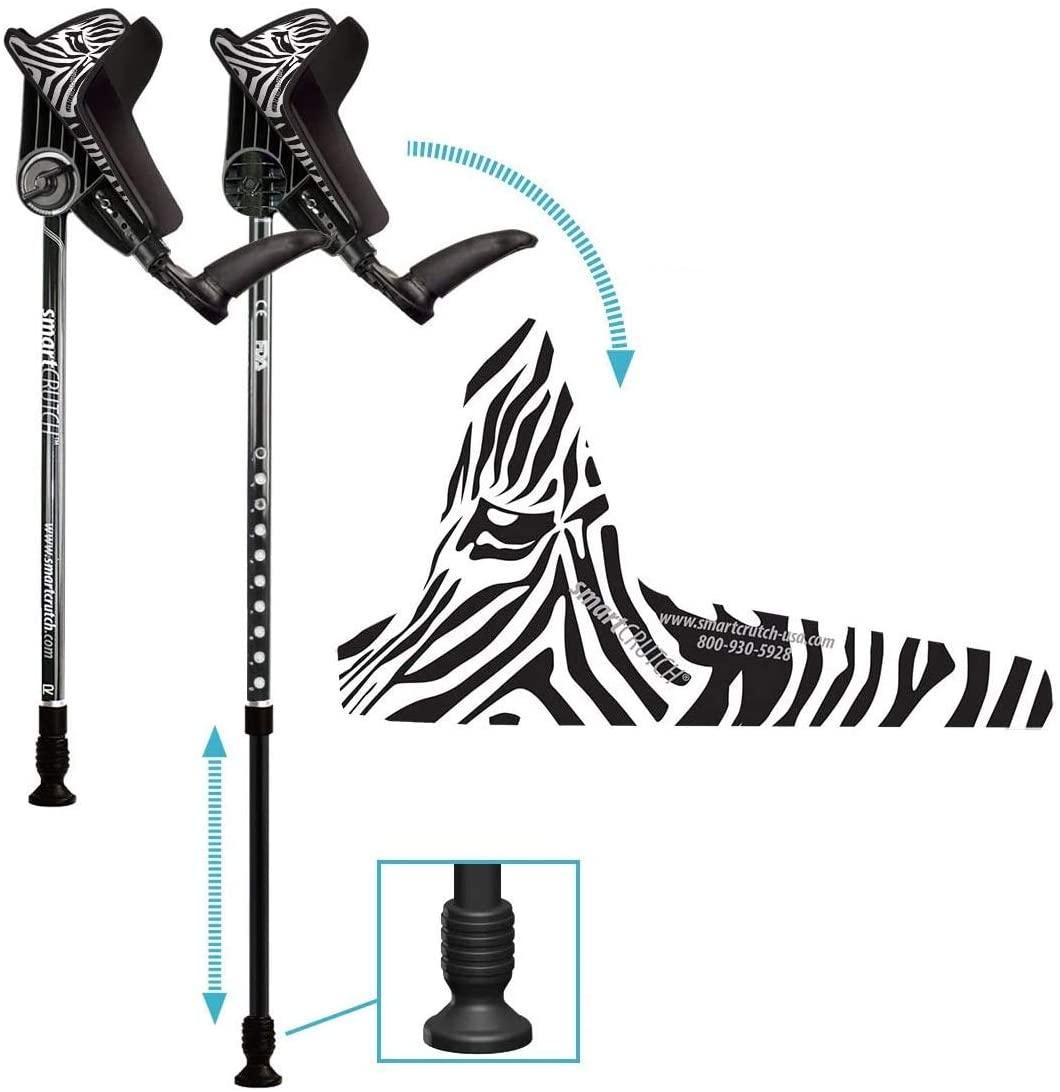 smartCRUTCH Racer Series Forearm Crutch 15-90 Degree Rotation - 2 Ergonomic Walking Aids, Adjustable 4'4-6'7 Adult Athlete Elderly Injury/Disability, Mobility Support - Medium (Shortened Leg), Zebra