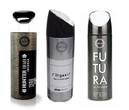 Pack of 3 Assorted Armaf Perfume Body Spray Alcohol Free 6.6 oz Hunter Intense + Legasi + Futura For Men (Hunter Intense + Legasi + Futura)
