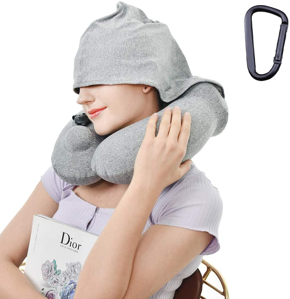 Inflatable Travel Pillow with Hood Supports The Head, Neck and Chin, Quick Inflation Airplane Pillow with Washable Cover Hoodie Pillow Designed for Travel,Airplanes, Cars, Buses, Trains (Grey)