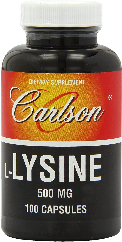 Carlson Labs L-Lysine, 500mg, 100 Capsules