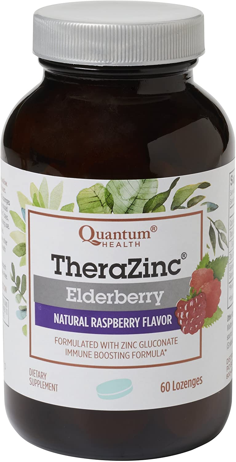 Quantum Health TheraZinc Elderberry Lozenges, Made with Zinc Gluconate for Immune Support, 60 Count