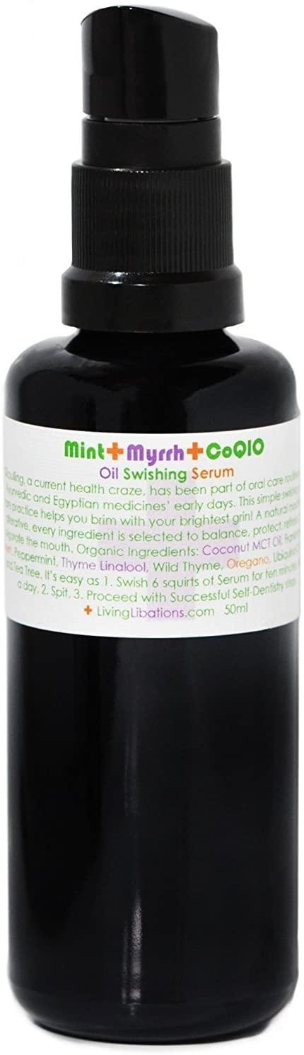Living Libations - Organic/Wildcrafted Mint + Myrrh Oil Swishing Serum (1.69 oz / 50 ml)